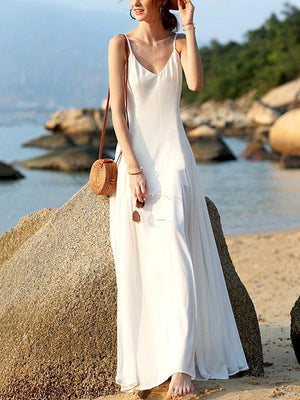 Loose V-neck Backless Spaghetti Strap Holiday Maxi Dress