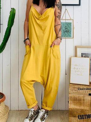 Casual Plus Size Pocket Spaghetti-neck Jumpsuits Bottoms