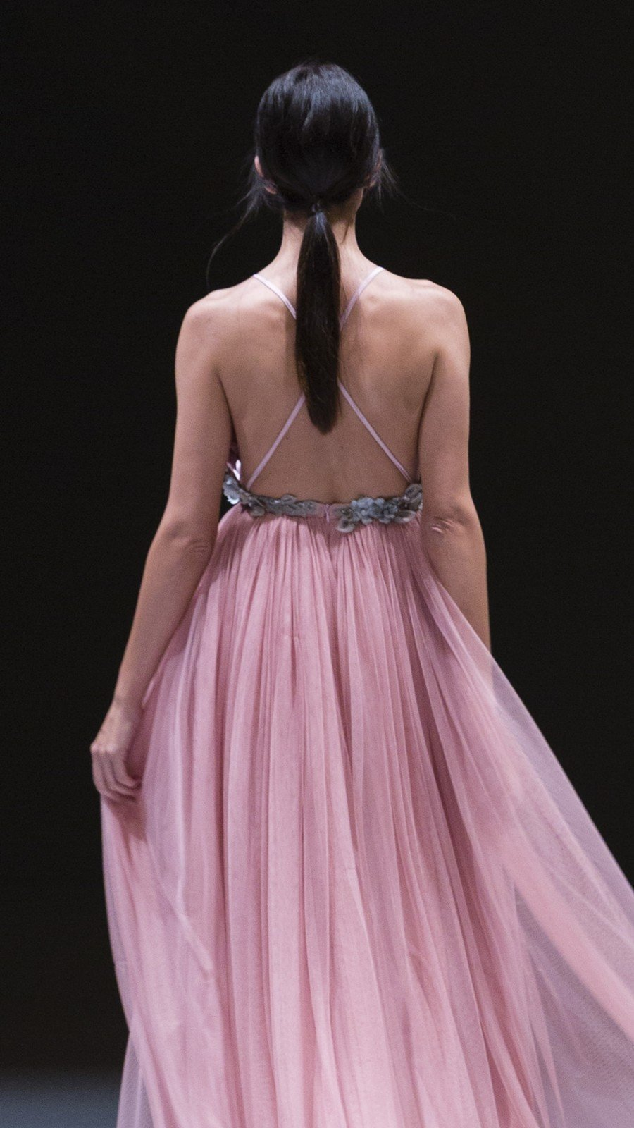Pink Embroidered Sling Chiffon Dress Backless Maxi Dress