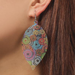 Hollow Leaf Print Metal colorful Earrings - Voguetide