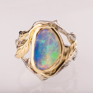 Chic Leaves Design Opal Rings Jewelry