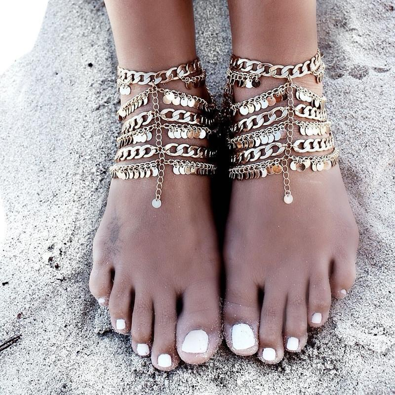 Exaggerated Bohemia Paillette Tassels Punk Beach Footchain Accessories Anklet - Voguetide