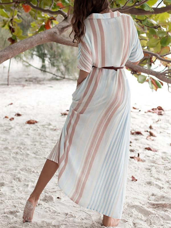 Casual Striped Single-row Buttoned Lapel Short-sleeved Maxi Dress