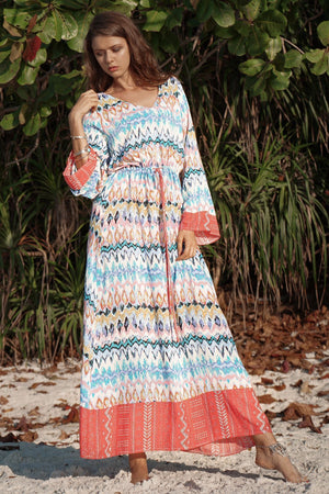 Casual Long Sleeved Wave Printed Loose V-neck Maxi Dress
