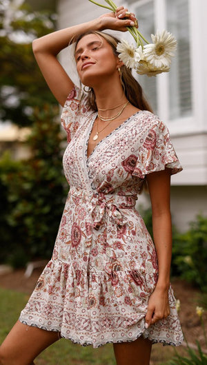 Spring Bohemian Beach Deep V-Neck Large Hem Print Dress