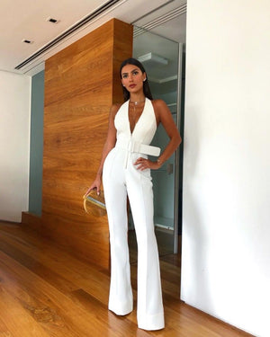 Sexy Deep V Sleeveless Halter Jumpsuit with Belt