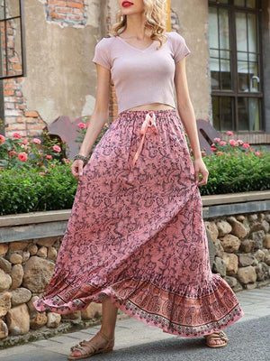 Boho Falbala Printed Elasticity Waist Skirts Bottom