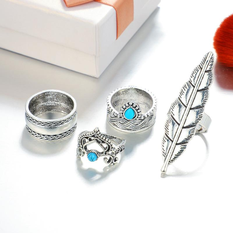 Bohemian Vintage Ancient Silver Turquoise Personality Ring Set 4 Piece Set