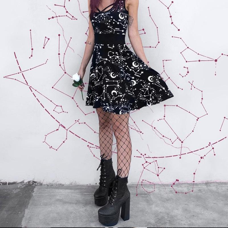 Halloween Gothic Style Sleeveless  Street Punk Cosplay Black Retro Moon Printed Mini Dress