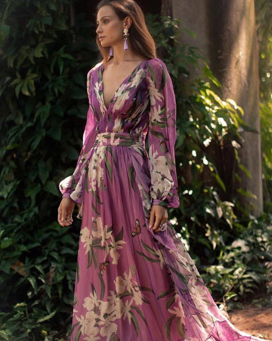 Bohemian Floral Printed V Neck Long Sleeve Pleated Maxi Dress