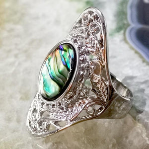 Vintage Leaves Design Silver Colorful Shell Rings Jewelry