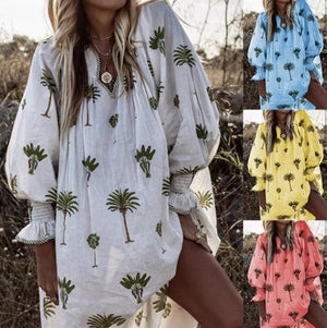 Five-Color V-Neck Large Size Printed Lantern Long-Sleeved Dress