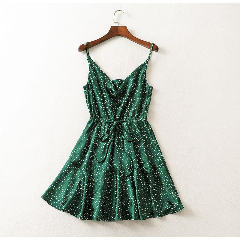 Casual Polka Dot Summer Strap Backless Stain Holiday Mini Dress
