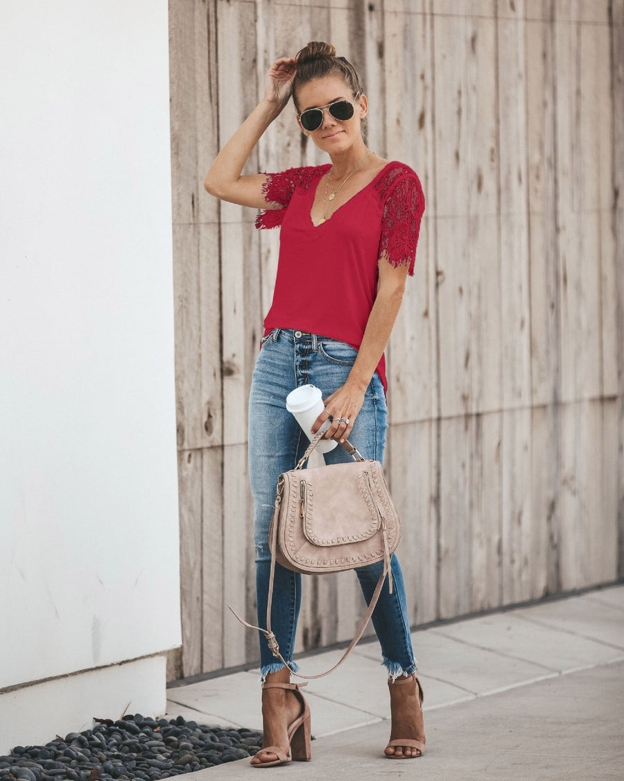 Sexy V-neck Lace Stitch Short-sleeved T-shirt top