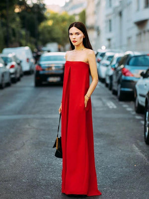 Sexy Off Shoulder Red Loose Wide Leg Jumpsuit