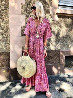 Stylish V-Neck Flare Sleeve Print Vacation Maxi Dress