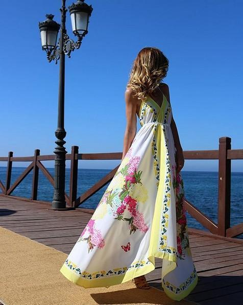 Bohemian Long Print V-Neck Halter Dress