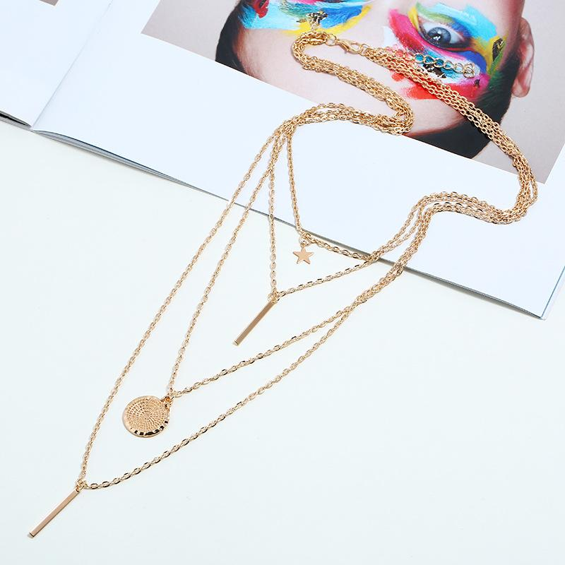 Bohemian  Statement Pentagon Star Pendant Multilayer Necklace Jewelry