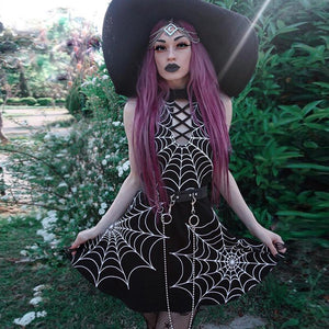 Halloween Gothic Halter Spider Web Punk Halter Backless Sleeveless Mini Dress