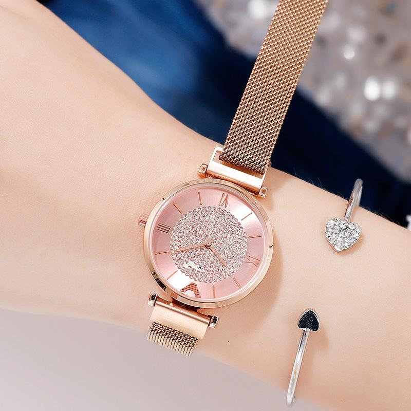 Luxury Shining Diamond Rose Gold Ladies Wrist Bracelet Watch