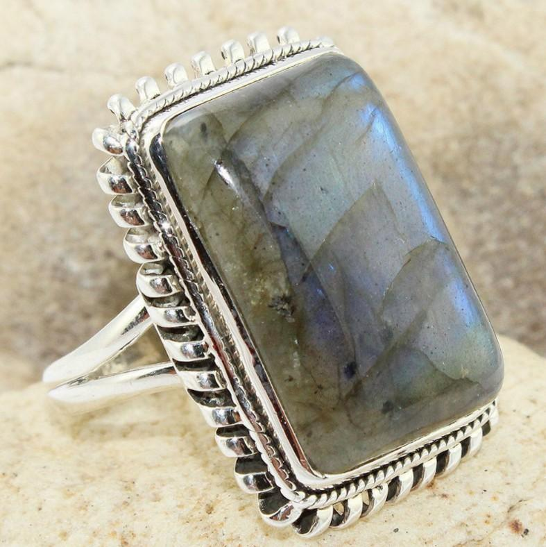 Vintage Geometric Square Gemstone Finger Ring