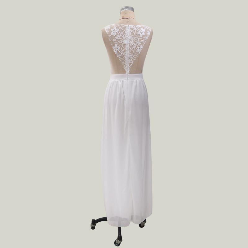 Vintage Formal Floral Lace Short Sleeve Slim Wedding Slit Up Maxi Dress Vestidos