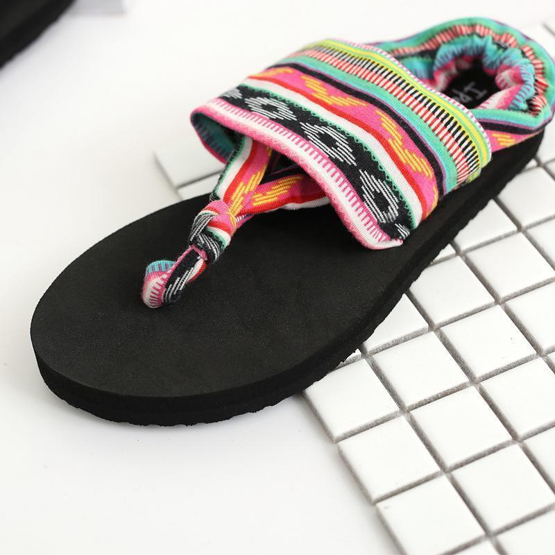 Bohemian Wrapped Flip-Flops Flat-bottomed Slippers Non-slip Beach Shoes