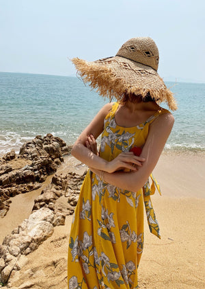 Boho Floral Printed Backless Sleeveless Holiday Beach Maxi Dress