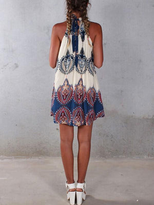 Pretty Fashion Floral-Print Chiffon Sleeveless Lace-up Cross Neck Mini Dress