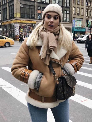 Winter Faux Fur Moto Bike Jacket Coat Outerwear