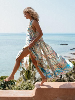 Bohemian Chiffon Printed V-neck Sleeveless Split Beach Maxi Dress