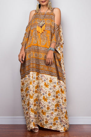Loose Bohemian Off-the-shoulder Style Robes Sling Ethnic Maxi Dress