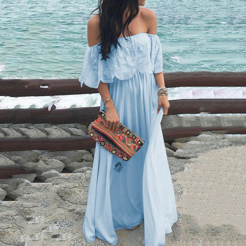 Sexy Off Shoulder Solid Color Lace Ruffle Maxi Dress