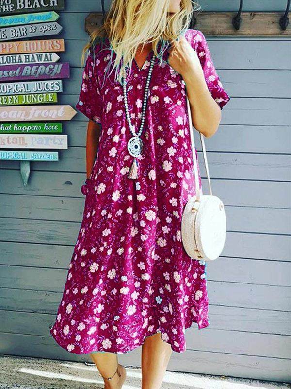 Casual Short Sleeved V-collar Printed Wide Loose Maxi Dress