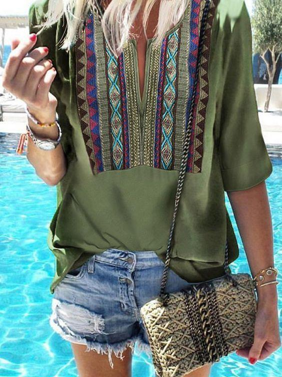 Boho Loose Solid Color Half Sleeve Shirt Tops