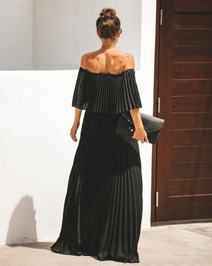 Elegant Off Shoulder Chiffon Summer Ruffle Pleated Maxi Dresses