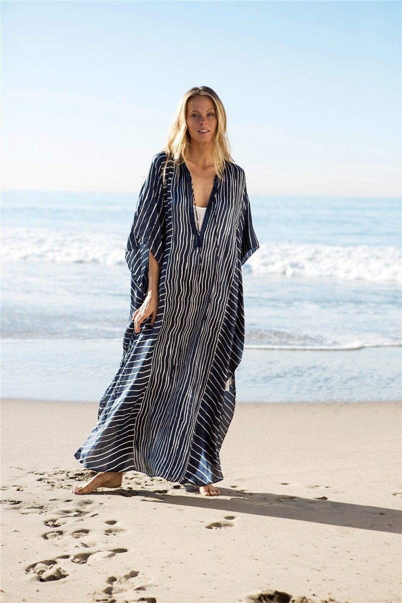 Casual Loose Oversize Striped Vacation Striped Dress