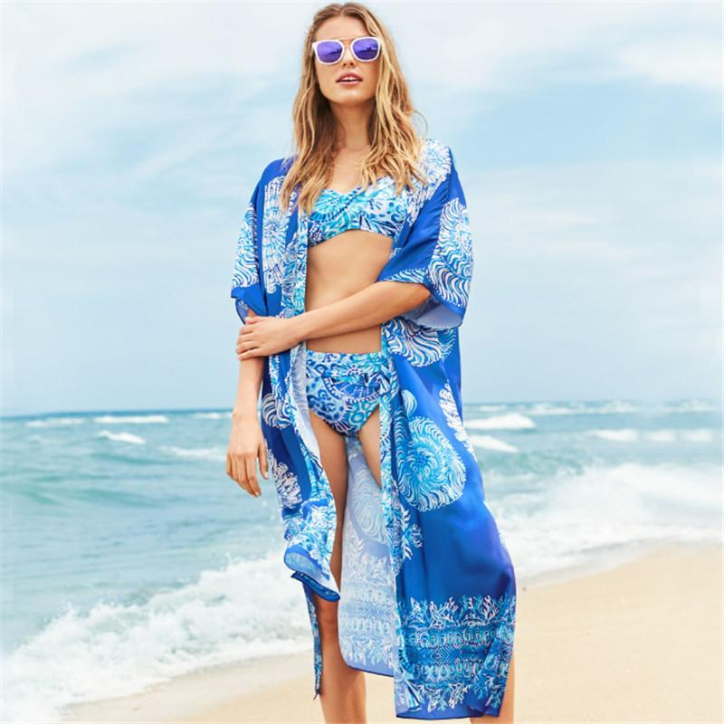 Printed Beach Sun-protection Summer Cover-ups