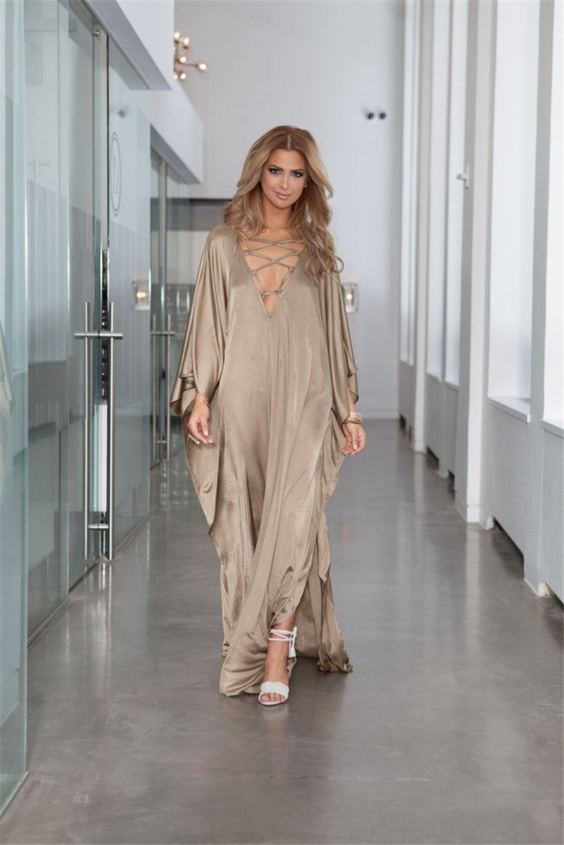 Casual Loose Solid V-neck bandage Sun-protection Maxi Dress