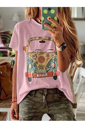 Loose Print Round Neck Short Sleeves Tops