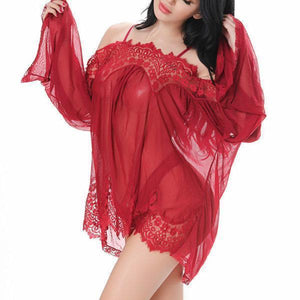 Sexy Lace Hollow Sleepwear Semi-sheer Temptation Charm Babydoll