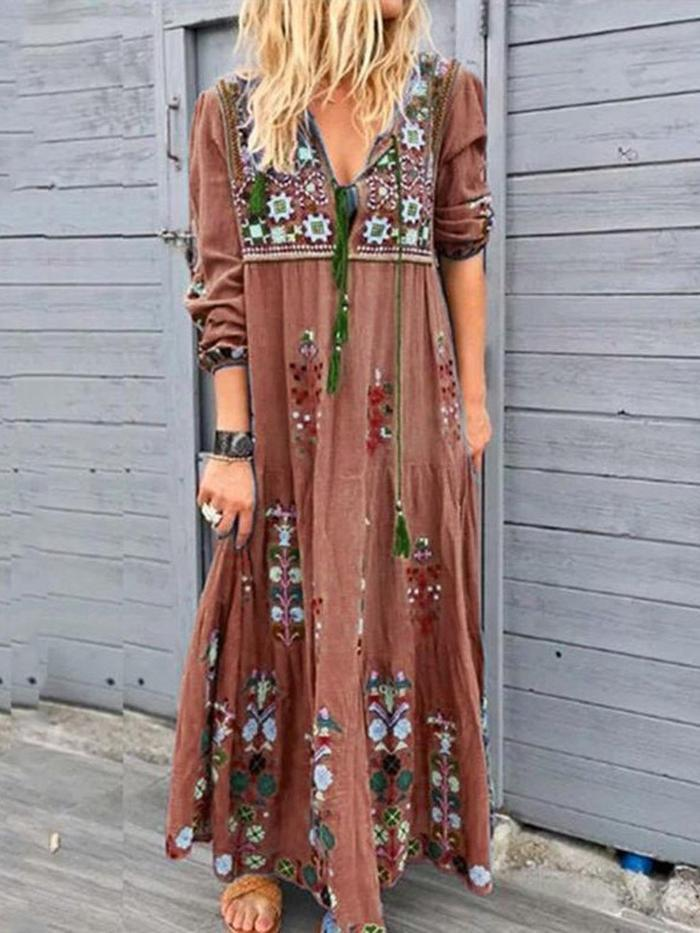 Casual Three Quarter Sleeve V-neck Embroidery Maxi Dress