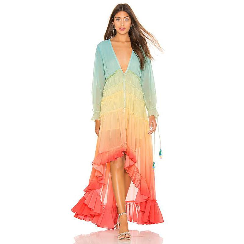 Stylish Gradation V Neck Waist Maxi Dresses