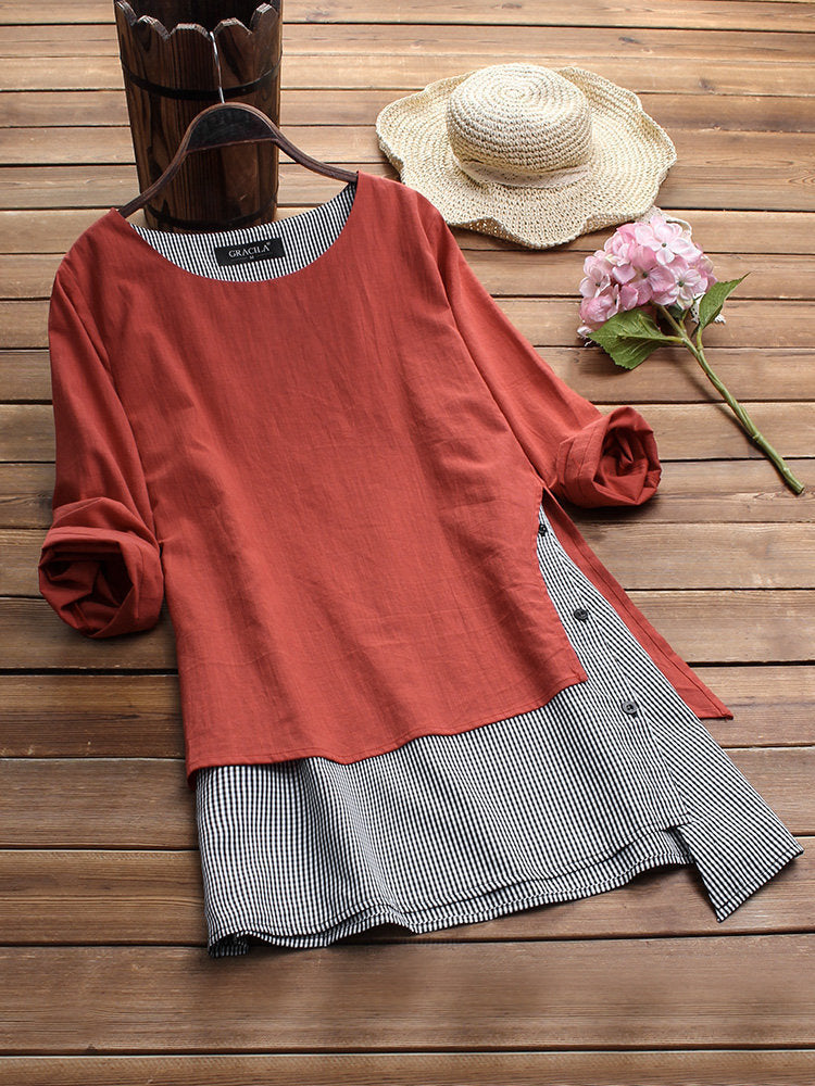 Casual Color Block Patchwork Nine Points Sleeve Plus Size Blouse Tops