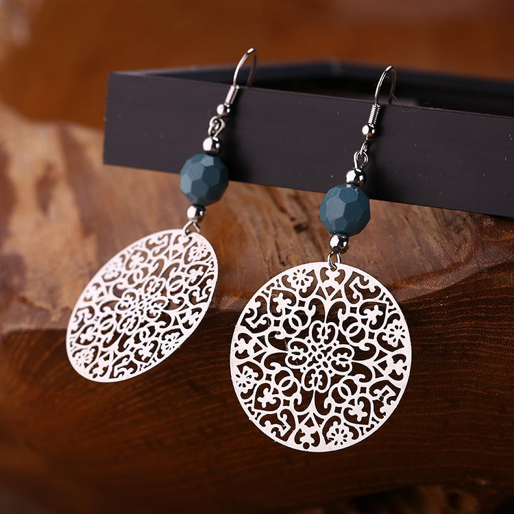 Elegant Hollow Complex Circular Drop Earrings Jewelry