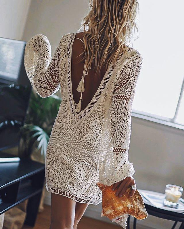 Sexy Lace Hollow V-back Summer Beach Cover-up