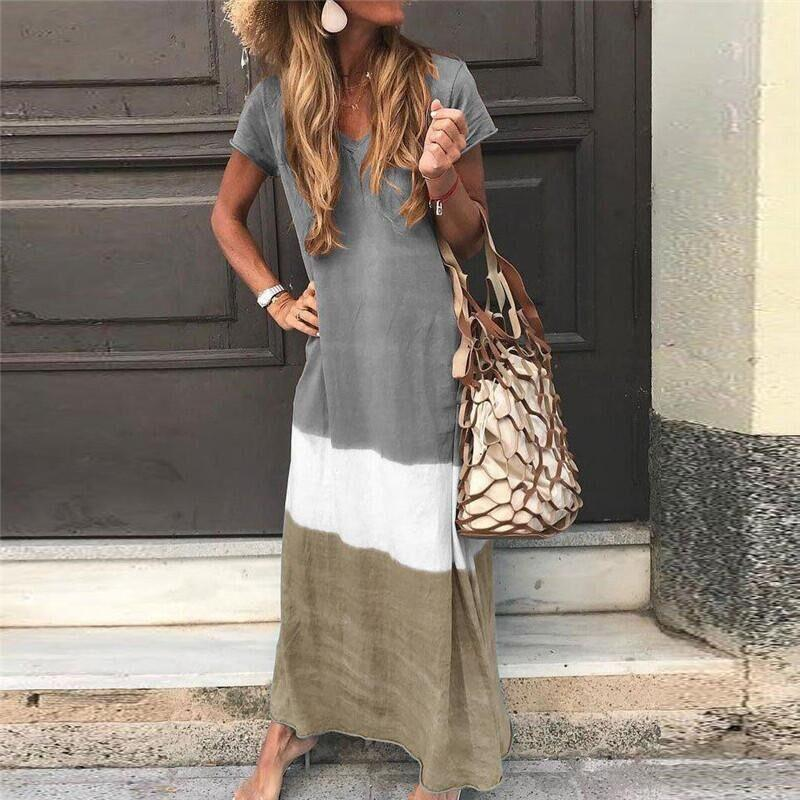 Casual V-neck Gradient Casual Long Dress