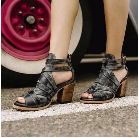 Vintage Chunky High Heeled Peep Toe Date Travel Platform Sandals