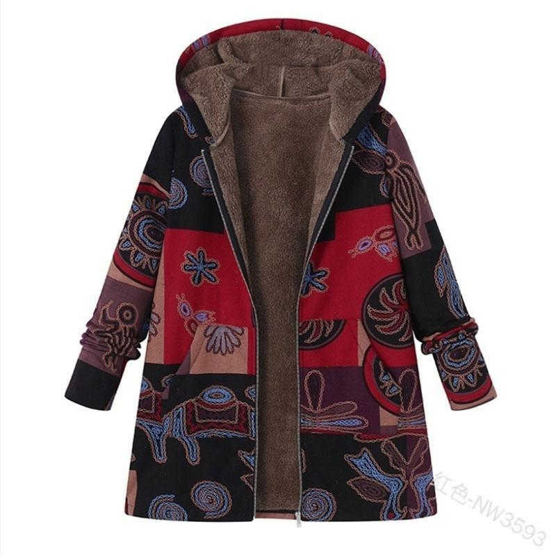 Casual Vintage Hooded Long Sleeve Fleece Thicken Button Coats Outwear