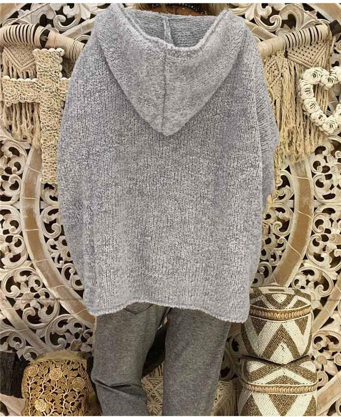 Casual Hooded Loose Fitting Plain Sweaters